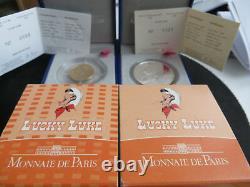 50 EUROS OR Lucky Luke BE 2009 + 10 EUROS Argent Lucky Luke BE 2009 TRES RARE