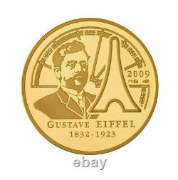 50 euro FRANCE 2009 or BE Gustave Eiffel (793 ex. Seulement) TRèS RARE GOLD PP