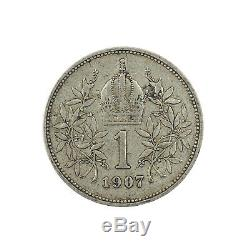 554 Autriche, Corona 1907, Argent, TTB, TRES RARE, KM 2804