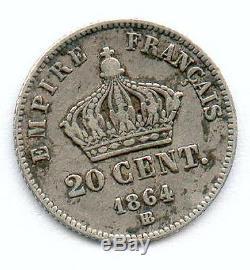 A Saisir Tres Rare Monnaie De 20 Centimes Napoleon III Argent 1864 Bb! Top N°2