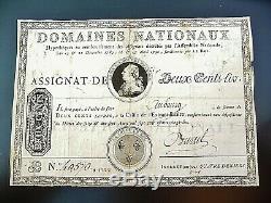 ASSIGNAT A ENDOS de 200 livres 1790 trés rare