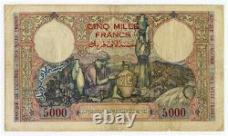 Algérie 1942 Émission 5000 Francs Très Rare Grande Taille Banknote. Pick#90a