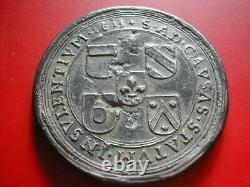 Amn. Lille Notre Dame De La Treille Tres Rare Et Grand Mereau En Etain 1613