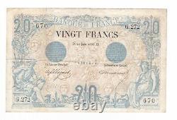 (B. 28) BILLET DE 20 FRANCS NOIR 21/06/1875 (TTB- à TTB) TRES RARE. F. 9/2