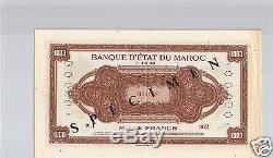 Banque D'etat Du Maroc Specimen 1 000 Francs 1.5.1943 Pick 28 S Tres Rare