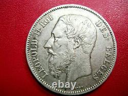 Belgique. Très rare 5 Francs Léopold II 1865. Argent. TTB/TTB+