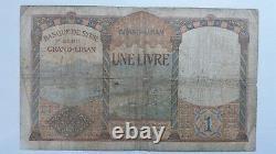 Billet Banknote Bill 1 Livre Banque de Syrie surcharge LIBAN 1939 très rare WW2