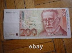 Billets ALLEMAGNE GERMANY 200 DEUTSCHE MARK SCHEIN 1989 B+/F+ TRES TRES RARE