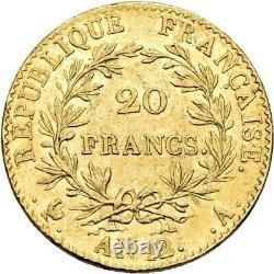 Bonaparte Premier Consul 20 Francs or AN 12 Paris Splendide très rare