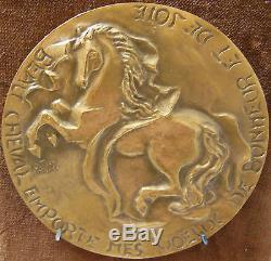 CHEVAL TRÈS RARE Médaille de Voeux en bronze signée O. TISON MICHEL