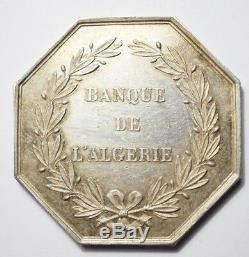 COLONIES TRES RARE JETON ARGENT DE LA BANQUE DE L'ALGERIE (poinçon Main)