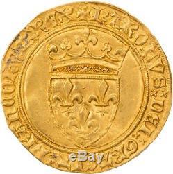 Charles VI Ecu d'or à la couronne Saint-Quentin très rare Superbe flan large