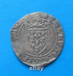 Charles VII TRES RARE petit blanc ou demi florette frappé à Limoges