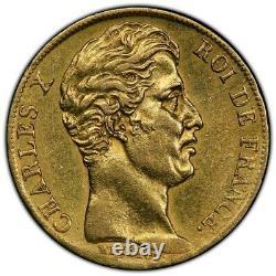 Charles X 20 Francs or 1828 Nantes Revers à Cinq Feuilles Superbe très rare