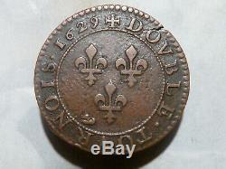 Cir2(899) Louis XIII Double Tournois 1629 A Tres Rare Qualite Sup
