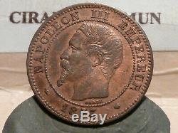 Cla(76) 2 Centimes Napoleon III 1853 Ma Rare & Tres Rare Qualite Sup+