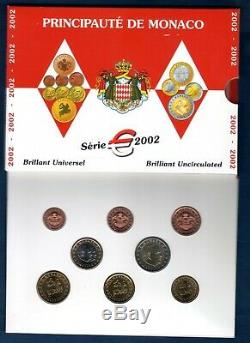 Coffret BU MONACO 2002 Tirage 40000 Exemplaires 8 pièces 1 ct à 2 euro TRES RARE