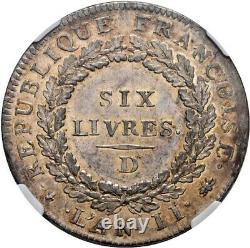 Convention Ecu de Six Livres 1793 Lyon Splendide très rare NGC MS60