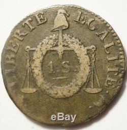 Convention Tres Rare Sol Aux Balances Nd (1794) Limoges Sans Le I