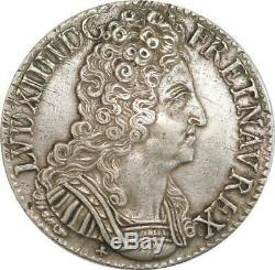 EE0019 Très Rare Ecu 3 Couronnes Louis XIV 1710 O Riom Argent F offre