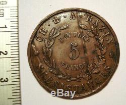 EGYPTE CANAL DE SUEZ. 5 FRANCS 1865 Ch. & A. Bazin Company. TRES RARE. EGYPT