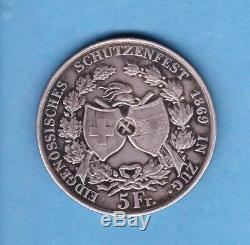 (ET 74) SUISSE ZUG 5 FRANCS 1869 (SPL à FDC) TRÈS RARE 6000 Ex
