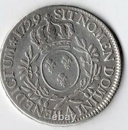 Écu Louis XV 1729 A (écu aux branches d'olivier) Très Rare 29 gr Argent