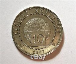 Essai D'alliage De 10 Centimes 1877. Paris. Tres Bel Etat. Tres Rare