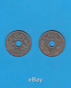 Etat Français 20 Centimes 1941 ESSAI type en fer Très rare