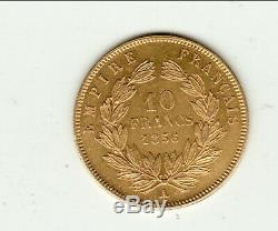 Ètat très RARE en SUP 10 FRANCS OR NAPOLEON III tète nue 1856 A