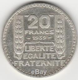F. 400-20 Francs TURIN 1939, RAMEAUX LONGS. Garantie authentique. Très très rare