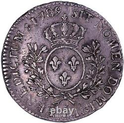 FRANCE Louis XVI 1/2 Écu aux branches d'olivier 1789 T Nantes Très rare
