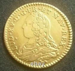 FRANCE Monnaie de 1/2 demi louis d'or de Louis XV 1732 A Paris TRÈS RARE /GOLD