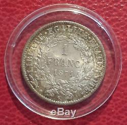 FRANCE- Monnaie de 1 franc argent type CERES 1871 K Bordeaux TRÈS RARE EN L ETAT