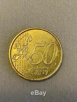 Fautee 50 centimes d'euro double face très rare