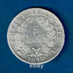 France 5 Francs Napoleon 1812 Bb Argent Tres Rare