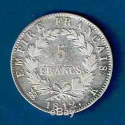 France 5 Francs Napoleon 1812 K Argent Tres Rare