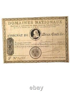 France Louis XVI Très Rare Assignat de 200 Livres