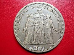 France. Très rare 5 Francs 1871 A Camelinat, trident, date espacée. Argent. TTB