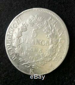 France très belle et rare monnaie de 5 francs L'AN 5 K. Union et force. Argent