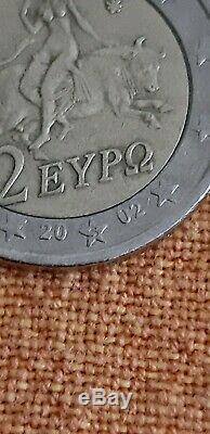 GRECE 2002 pièce 2 euros TRÈS RARE. Frappée en Finlande avec la mention S