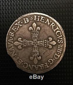 Henri IV 1/4 D'ecu Navarre-bearn 1590 Pau Avec Variete Tres Rare