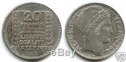 IIIe REPUBLIQUE 20 FRANCS TURIN ARGENT 1936 TRES RARE
