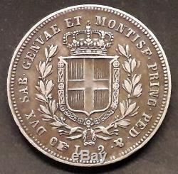 ITALIE SARDAIGNE 2 LIRE 1836 P Aigle EAGLE CARLO ALBERTO Argent TRÈS RARE
