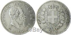 Italie, Victor Emmanuel II 1 Lire Argent 1862 Naples Très Rare