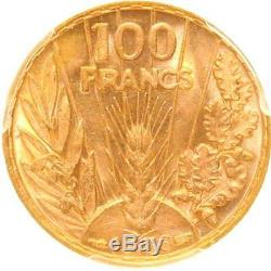 L2909 TRES RARE 100 Francs or gold Bazor 1936 PCGS MS64! A GEM Make offre