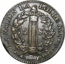 L9836 TRES RARE 2 Sols Louis XVI François 1792 T. Saumur TTB Faire Offre