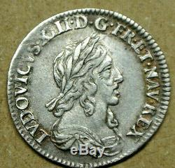 LOUIS XIII 1/12 ECU au trés petit buste 1643 A rose TTB++ PORTRAIT RARE