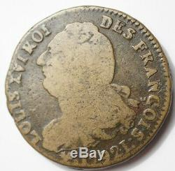 LOUIS XVI TRES RARE 2 SOLS CONSTITUTIONNELS 1792L BAYONNE (croix sous le U)