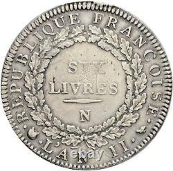 La Convention Six livres dit au Génie 1793 Montpellier Superbe très rare